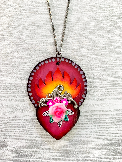 Sacred Heart with Pink Rose Pendant Necklace
