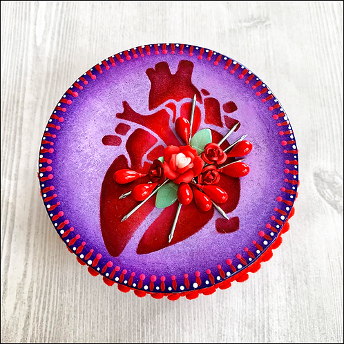 Purple Anatomical Heart Keepsake Box