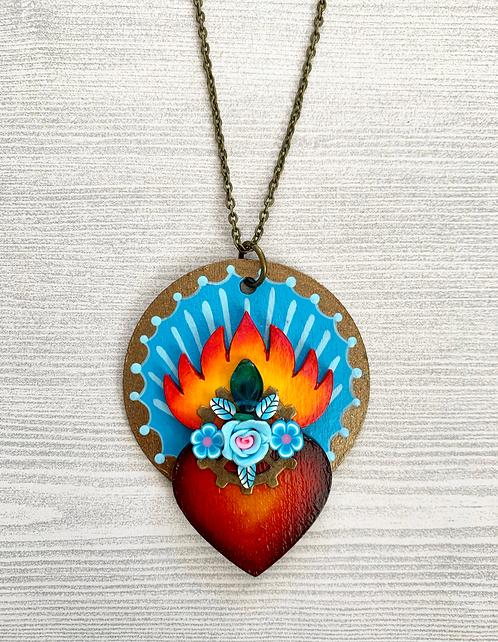 Light Blue Sacred Heart Pendant Necklace