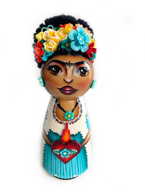 Large Frida Kahlo with Sacred Heart Art Ornament