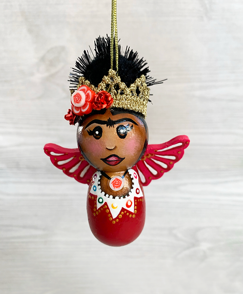 Sweet Red Crowned Frida Angel Art Ornament