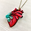 Thumbnail: Anatomical Heart And Teal Rose Pendant Necklace