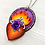 Thumbnail: Sacred Heart with Purple Rose Pendant Necklace