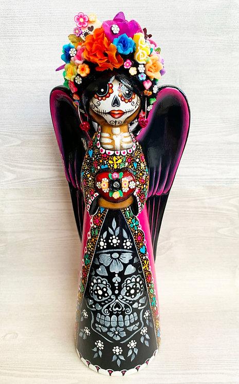 Dia De Los Muertos Love Angel with Flowered Heart