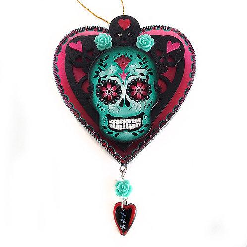 Heart And Teal Sugar Skull Ornament