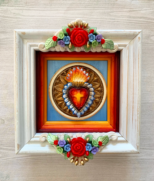 Sacred Heart with Red Roses Shadow Box