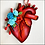 Thumbnail: Anatomical Heart And Blue Flowers Ornament