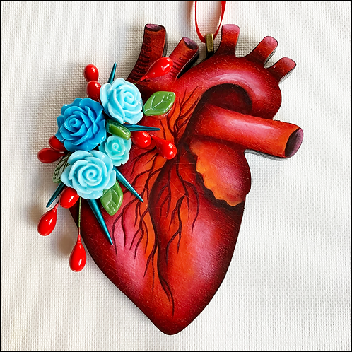Anatomical Heart And Blue Flowers Ornament
