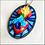 Thumbnail: Blue Oval Sacred Heart Pendant Necklace