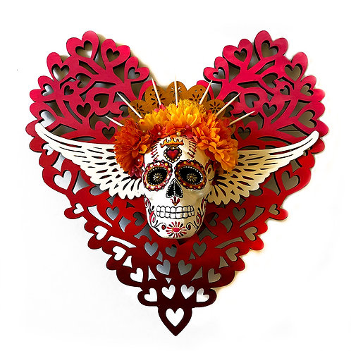 Red Lattice Heart And Sugar Skull