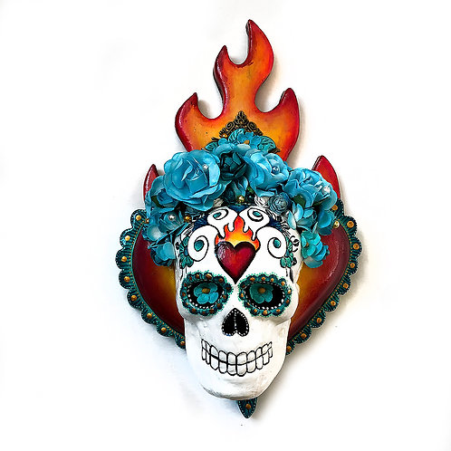 Sacred Heart And Sugar Skull Wall Art