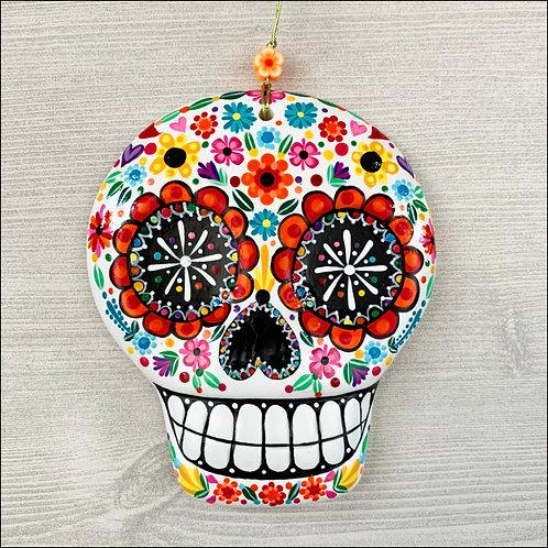 White Flower Power Sugar Skull Art Ornament No.2