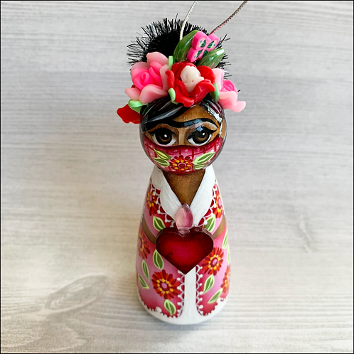 Frida in Pink Mask with Heart Ornament