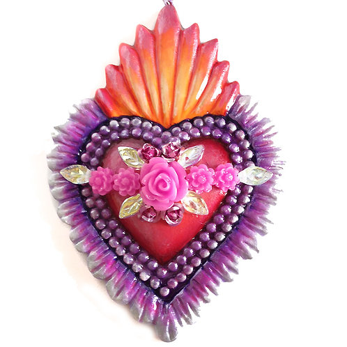 Pink And Purple Sacred Heart Ornament