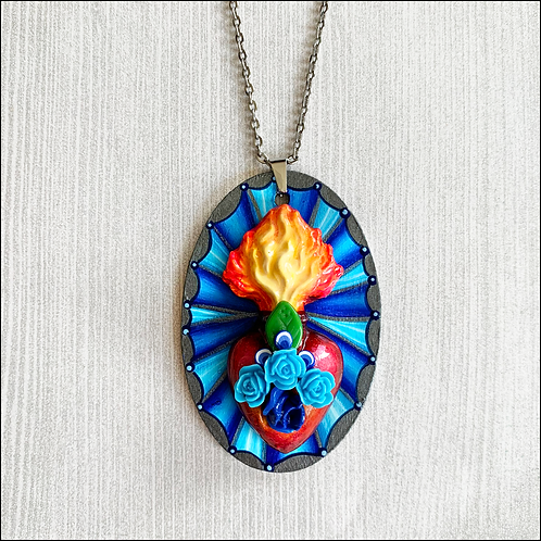 Blue Oval Sacred Heart Pendant Necklace