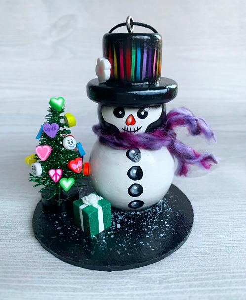 Skeleton Snowman with Green Christmas Tree Art Ornament