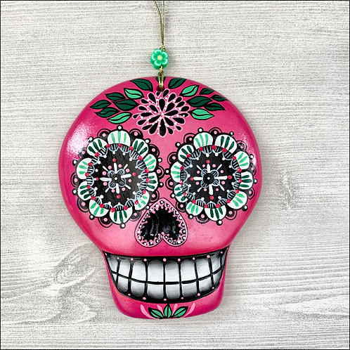 Pink Sugar Skull with Black Flower Art Ornament