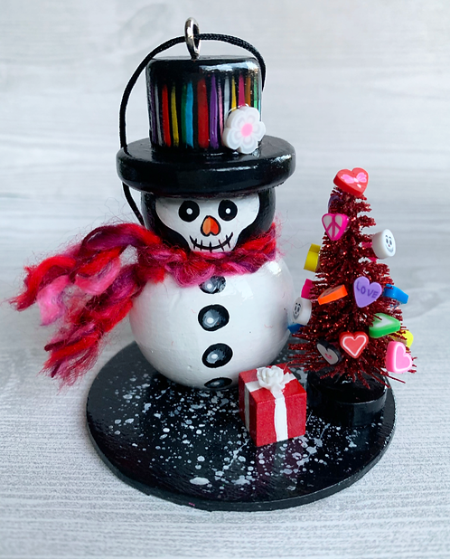 Skeleton Snowman with Red Christmas Tree Art Ornament