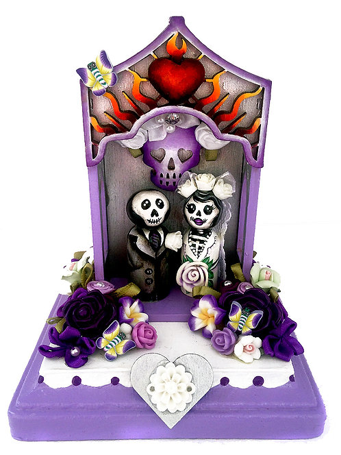 Day Of The Dead Wedding Couple In Purple Nicho