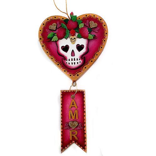 Red Amor Heart Skull Ornament