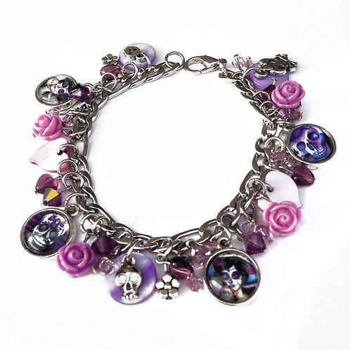 Calavera/Catrina Charm Bracelet-Purple