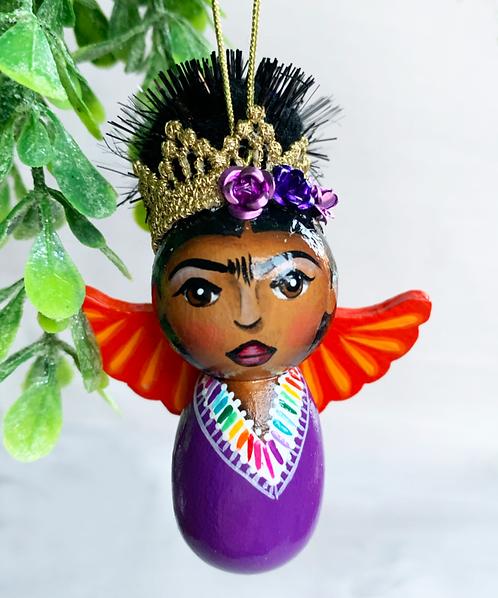 Sweet Purple and Orange Winged Frida Angel Art Ornament