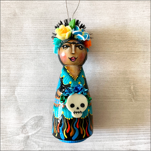 Frida in Blues with Skull Ornament