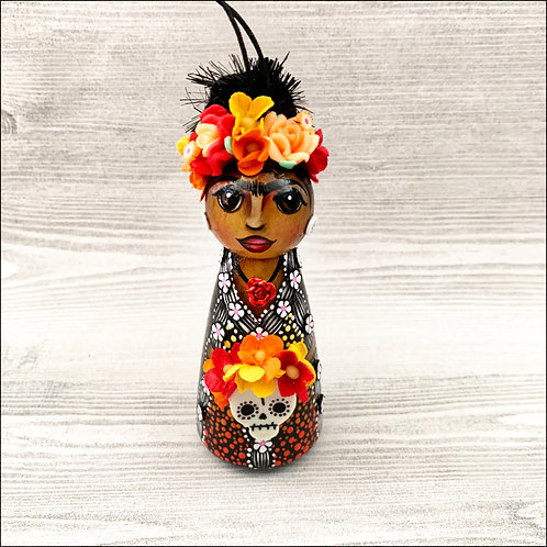 Dia de los Muertos Frida in Black Dress Art Ornament