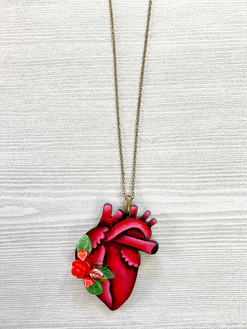 Anatomical Heart And Red Rose Pendant Necklace