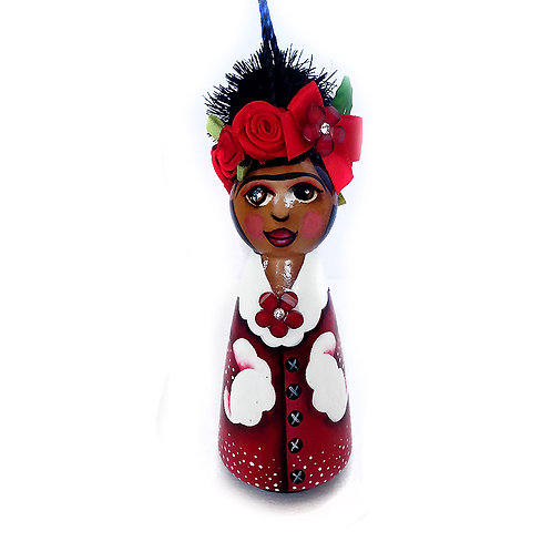 Frida In Red Holiday Coat Dress Ornament