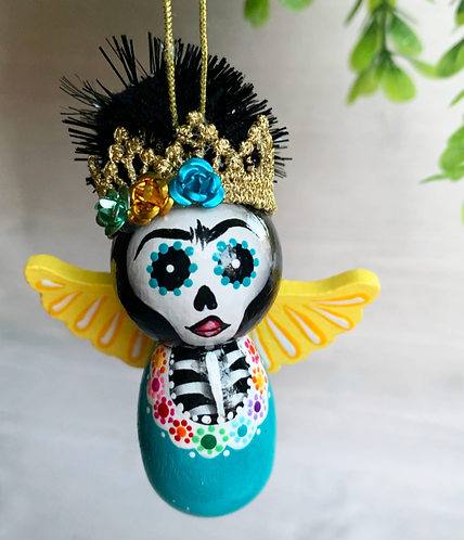 Blue Frida with Yellow Wings Skeleton Angel Art Ornament