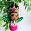Thumbnail: Sweet Pink and Green Winged Frida Angel Art Ornament