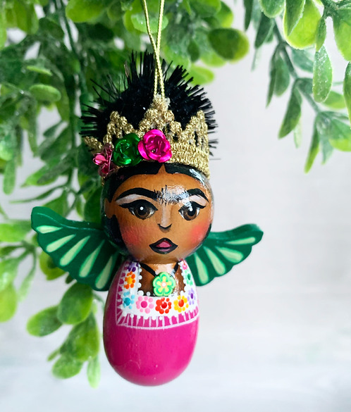 Sweet Pink and Green Winged Frida Angel Art Ornament