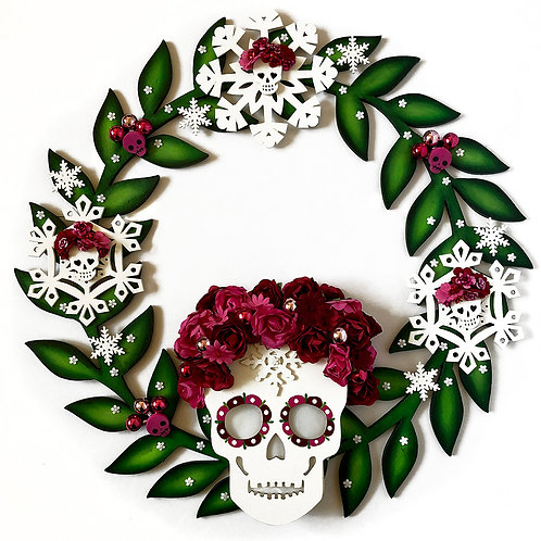 Unique Holiday Light Up Skull Wreath