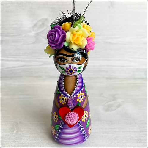 Frida in Purple Mask Holding Heart Ornament