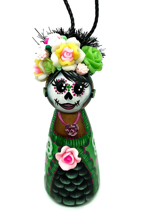 Frida In A Green And White Skull Dress