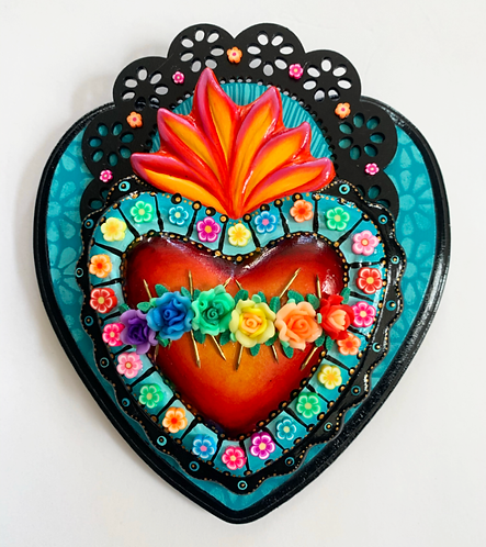 Teal Sacred Heart with Flowers and Gold Nails