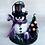 Thumbnail: Skeleton Snowman with Black Christmas Tree Art Ornament