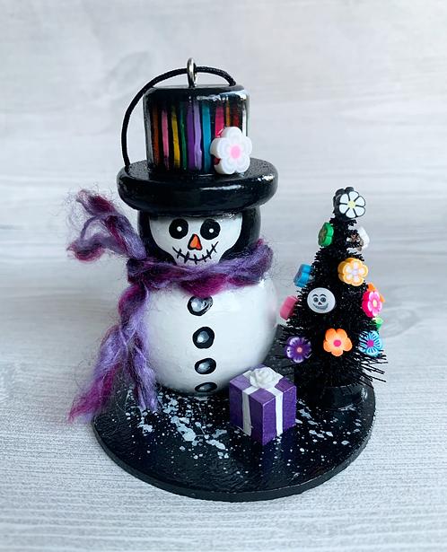 Skeleton Snowman with Black Christmas Tree Art Ornament