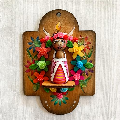 Sweet Little Frida Kahlo Flowered Wall Hanging