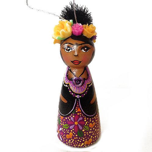 Frida In Flowered Purple Skirt Ornament