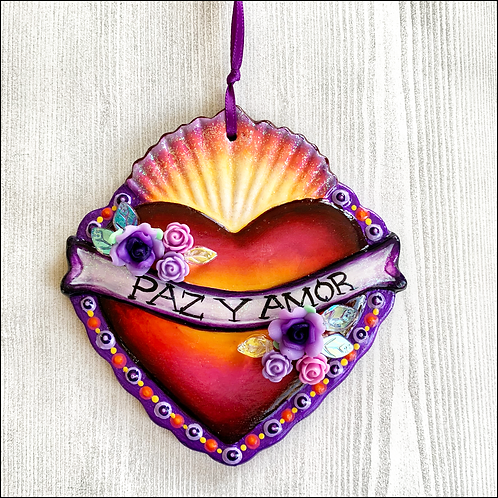 Sacred Heart With Purple Flowers Ornament