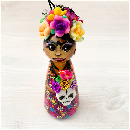 Dia de los Muertos Frida in Orange/Purple Dress Art Ornament