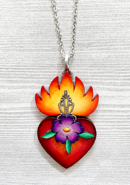 Sacred Heart with Purple Flower Pendant Necklace