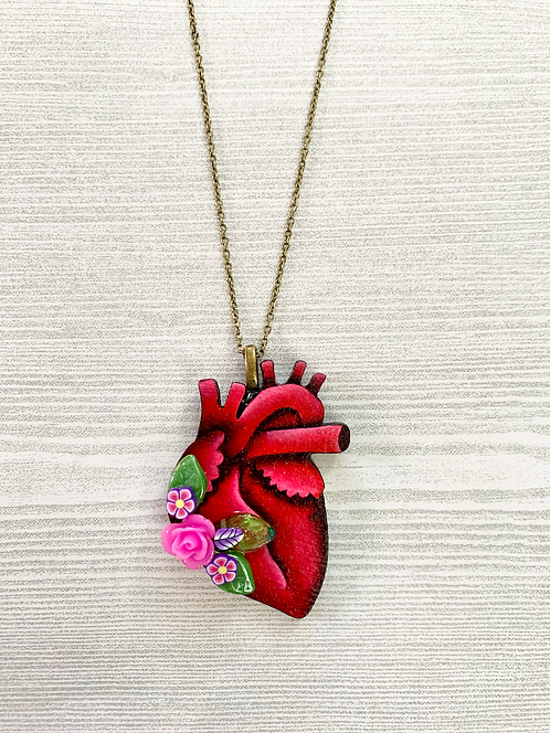 Anatomical Heart And Light Lavender Pendant Necklace