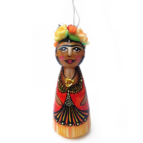 Frida Kahlo in Orange and Yellow Ornament