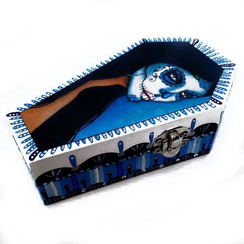 Catrina Blue Coffin Shaped Keepsake Box