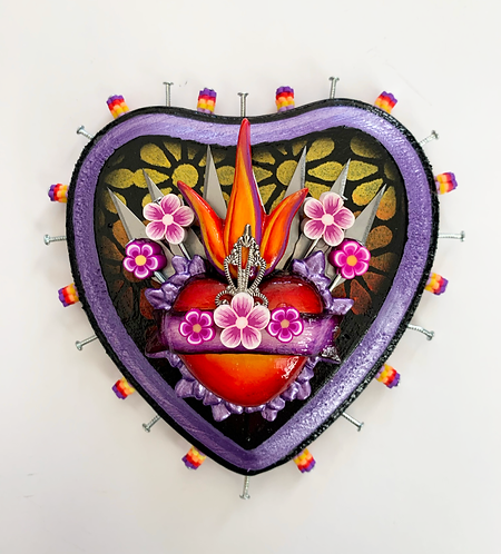 Small Purple Sacred Heart with Xacto Blades