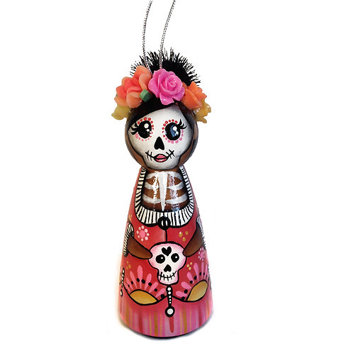 Day of the Dead Skull Pink Dress Ornament