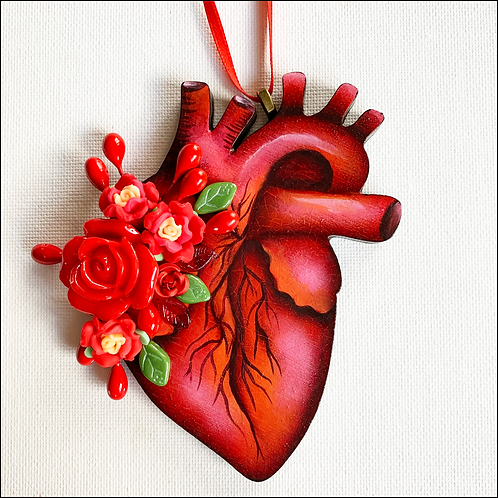 Anatomical Heart And Red Flowers Ornament